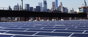 Solar panels on a New York City rooftop.