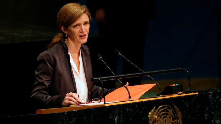 Samantha Power makes a speech at the United Nations