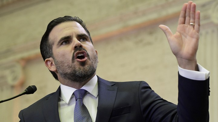 Puerto Rico Governor Ricardo Rosselló delivers an address in San Juan