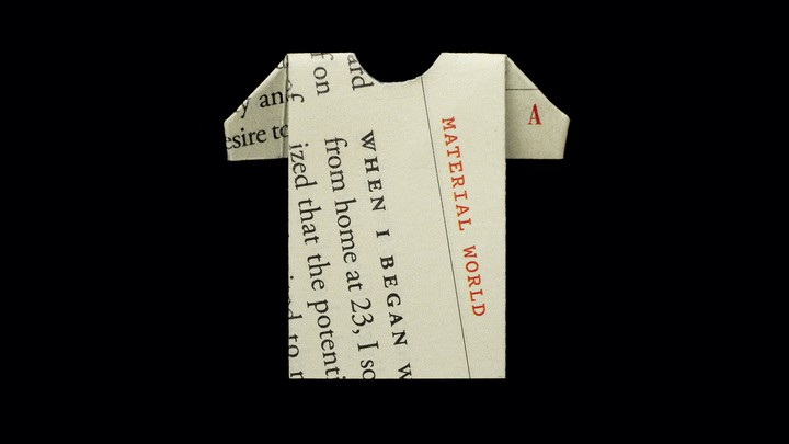 "illustration: ""Material World"" column folded into a T-shirt shape"