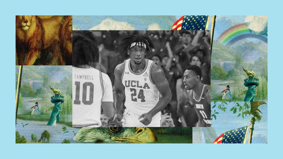 The UCLA basketball forward Jalen Hill is cheered on by a stadium of fans after scoring against a rival team. The image is set into a frame featuring The Experiment's show art