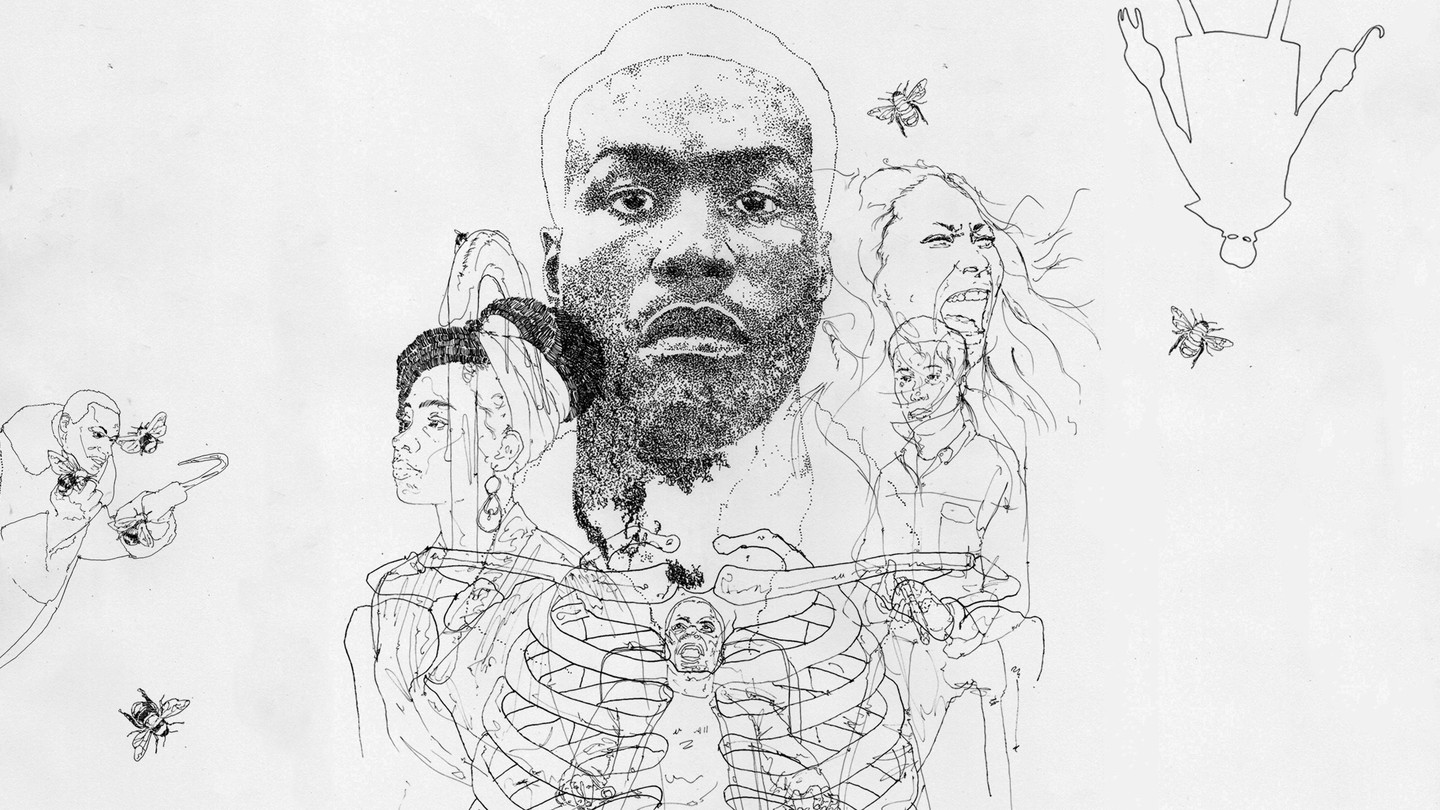 Black and white drawings of characters from horror films and bees layered over the outline of a skeletal rib cage
