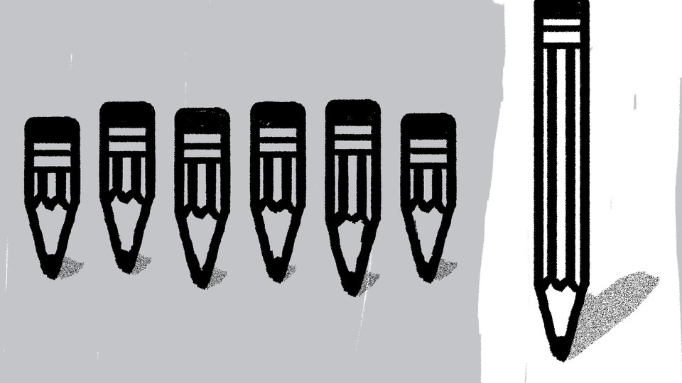 A drawing of short pencils on a gray background and one long pencil on a white background