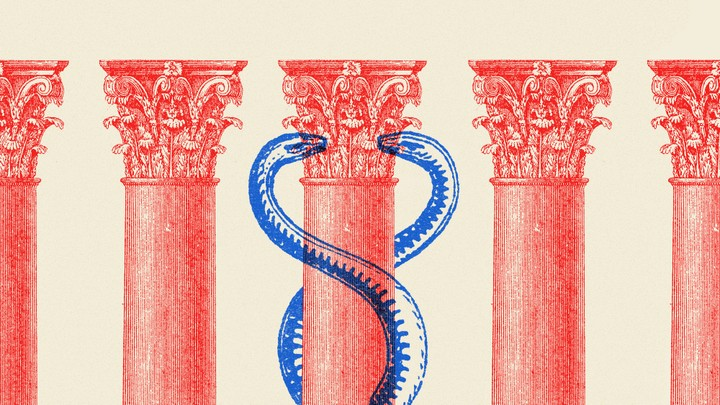 An illustration of the columns of the Supreme Court and the caduceus.