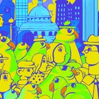 An illustration of green parakeets strolling a crowded sidewalk in front of London's skyline