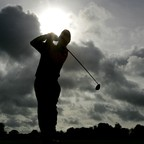 A golfer tees off during the first round of the 2005 Irish Open.