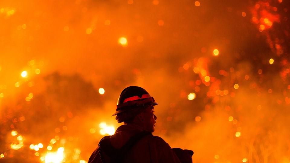 A firefighter near Monrovia Canyon Park, California