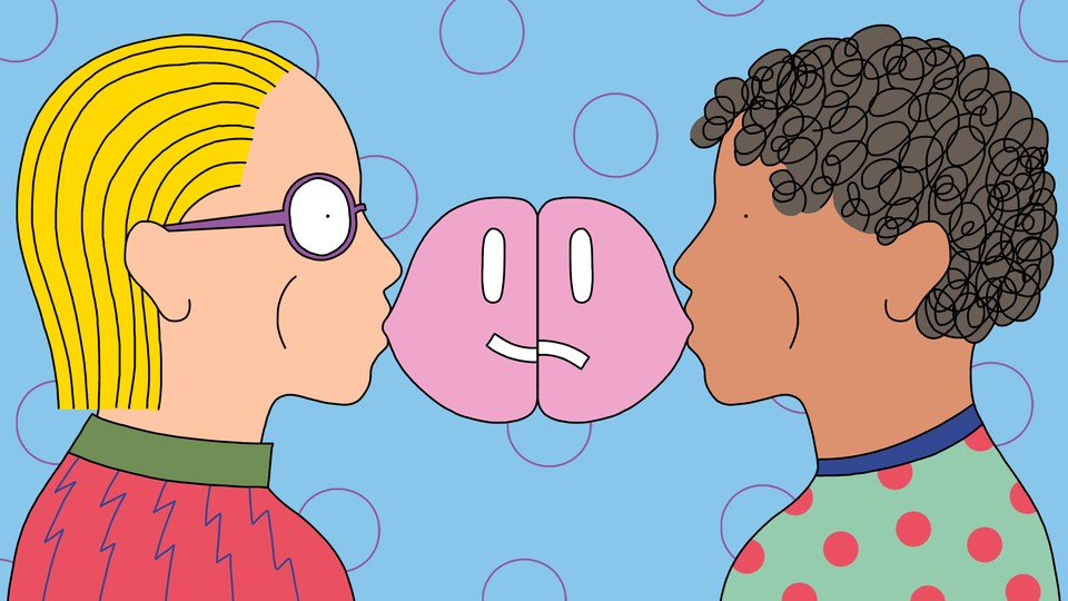 Two people blow bubble gum toward each other. One bubble forms half of a smiley face, while the other forms half of a frowning face.