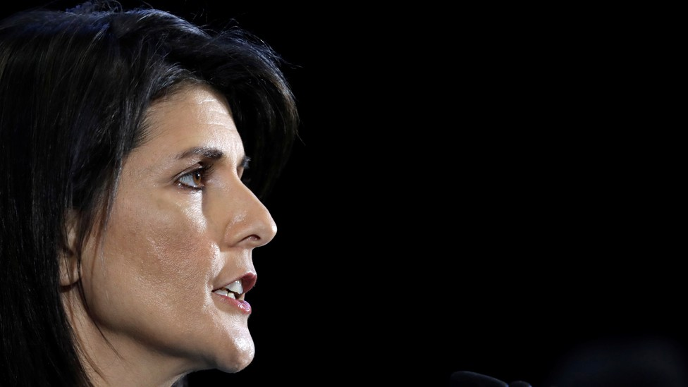 Nikki Haley briefs the media on highlights of the UN's 2231 Implementation Report at Joint Base Anacostia-Bolling in Washington, D.C., in December of 2017.