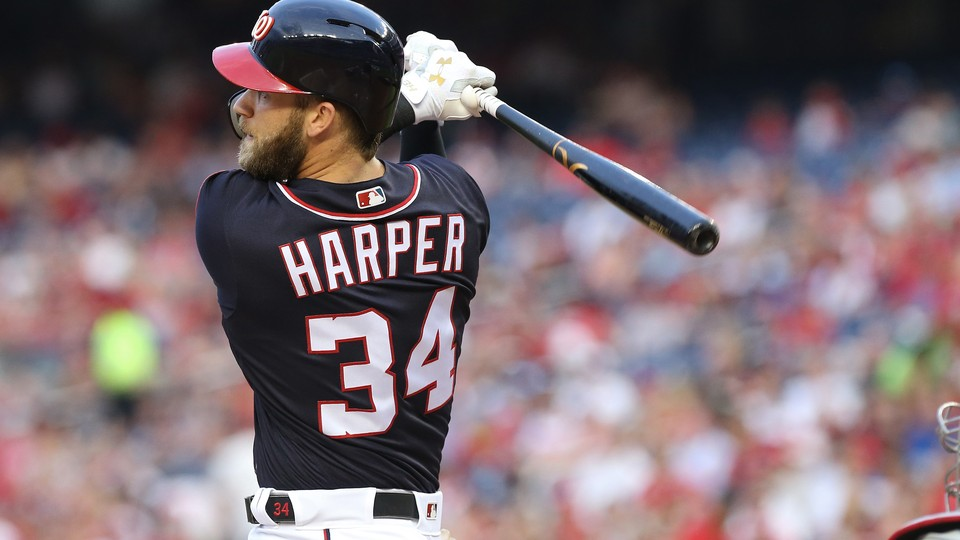 The Washington Nationals right fielder Bryce Harper hits a lead-off home run