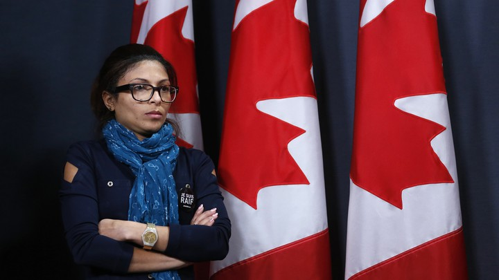 Ensaf Haidar takes part in a news conference calling for the release of her husband, Raif Badawi, in Ottawa in 2015.