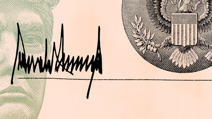 An illustration of Trump and his signature with the U.S. government seal