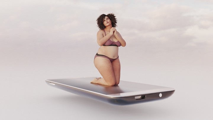 A woman wearing a bra and panties kneels on top of a giant smartphone
