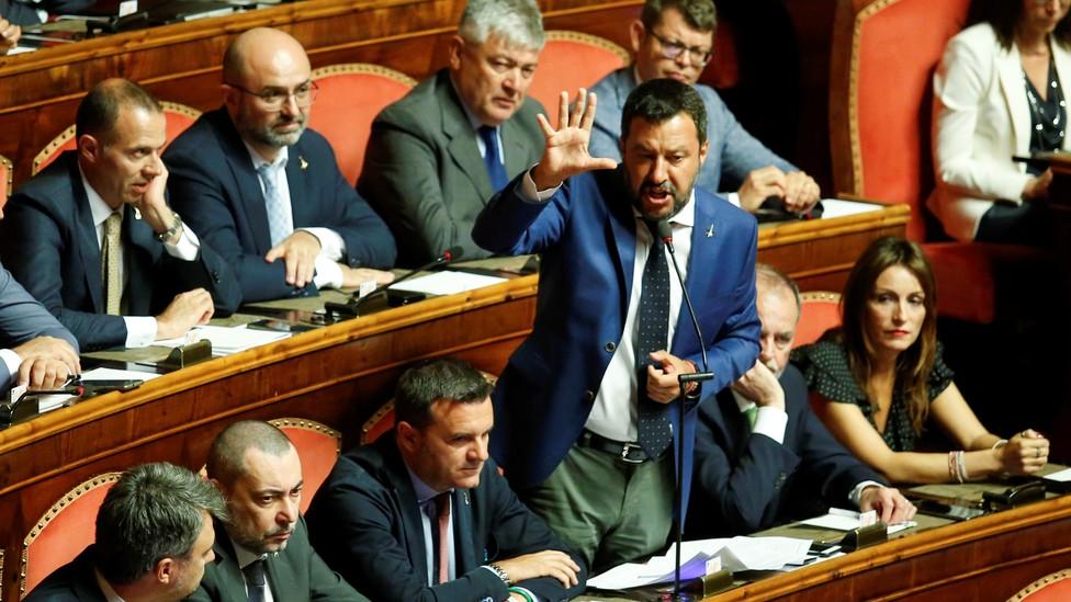 Matteo Salvini addresses parliamentarians in Rome.