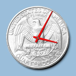 Artwork of the hands of a clock spinning on the back side of a quarter coin.