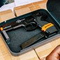 A gun in a lock box.