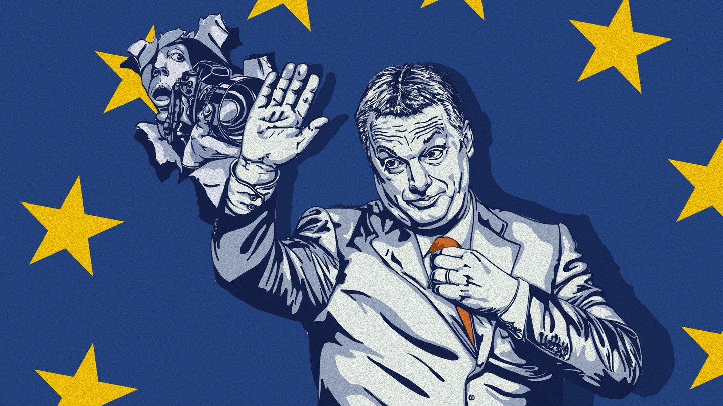 An illustration of Hungarian leader Viktor Orban blocking the view of a photographer in front of an EU flag.