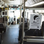 photo: A sign advising passengers to wear face masks is displayed on a New Jersey Transit bus in Atlantic City.