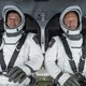 NASA astronauts Doug Hurley and Bob Behnken in the SpaceX capsule