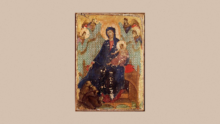 Three men in brown capes kneel at the base of Madonna's foot in a painting, with one of the men kissing her foot.