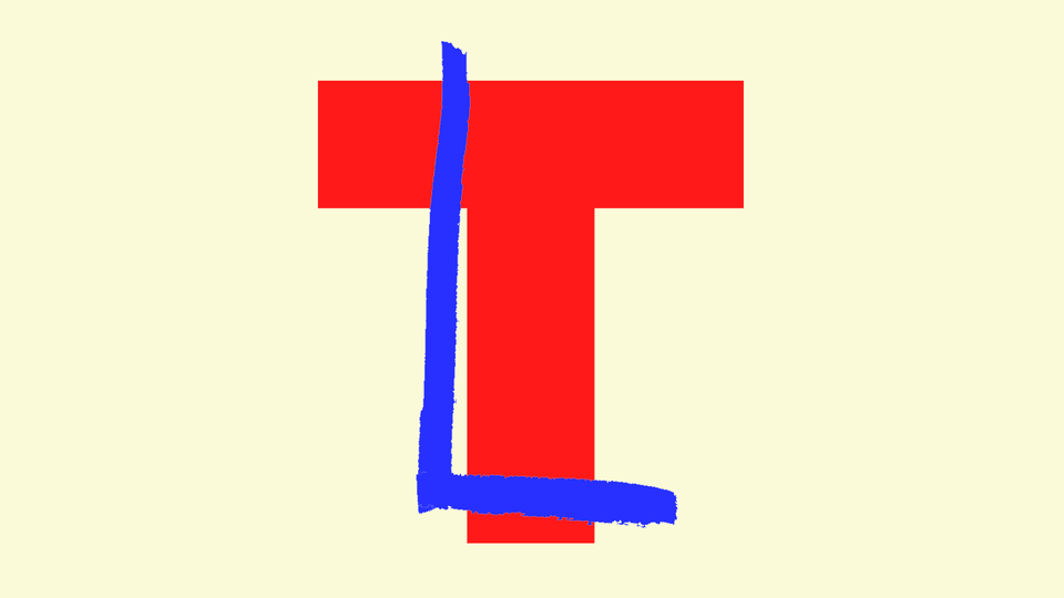 """An illustration of a letter """"T"""" with an """"L"""" drawn over."""