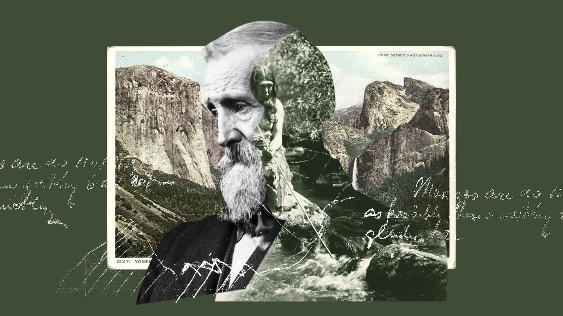 A collage of John Muir against a forest green background and images of mountains and a Native American person
