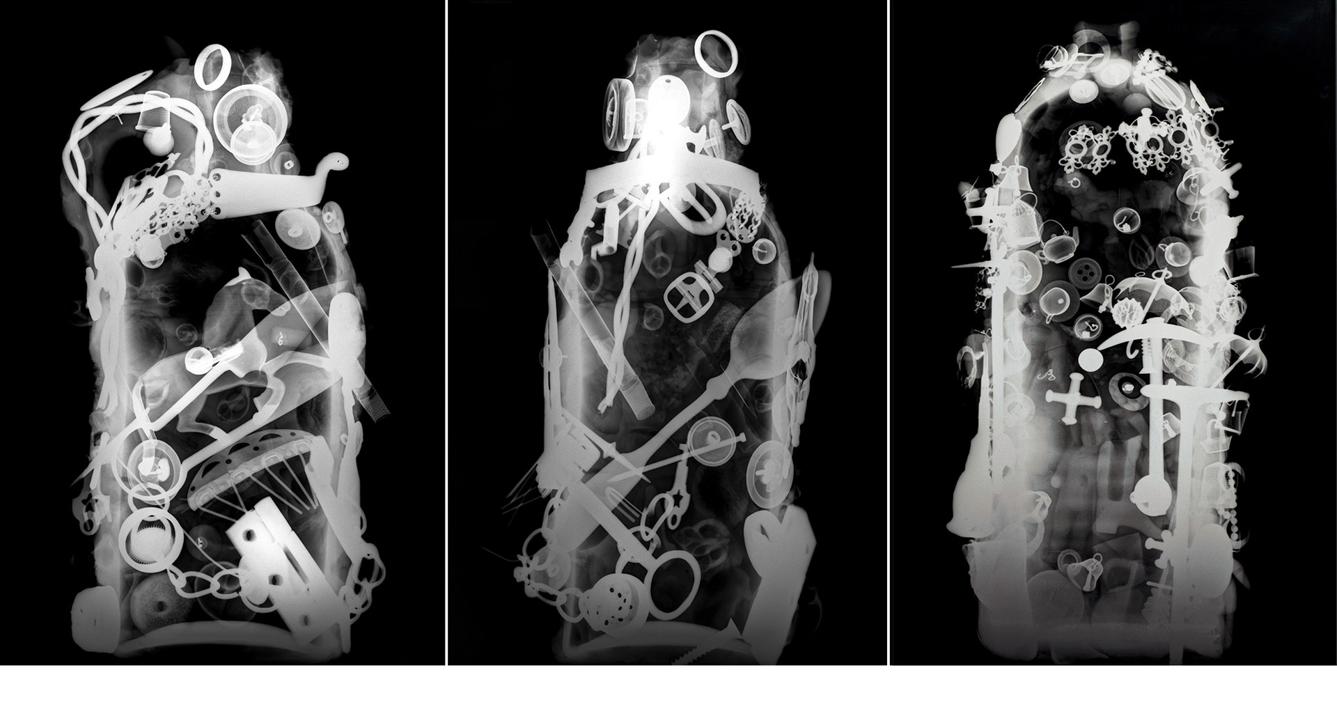 X-rays of three memory jugs