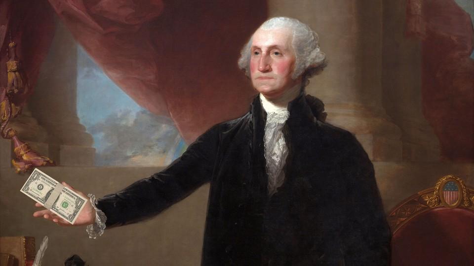 An illustration of George Washington with a dollar bill.
