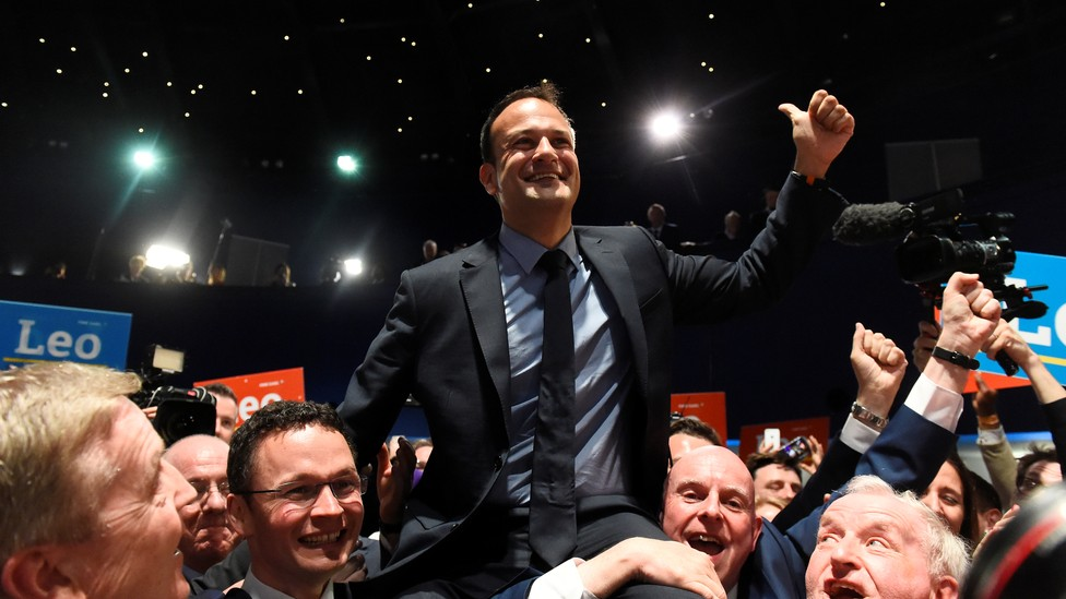 Leo Varadkar celebrates winning the Fine Gael parliamentary elections to replace Prime Minister Enda Kenny as leader of the party in Dublin, Ireland, on June 2, 2017.