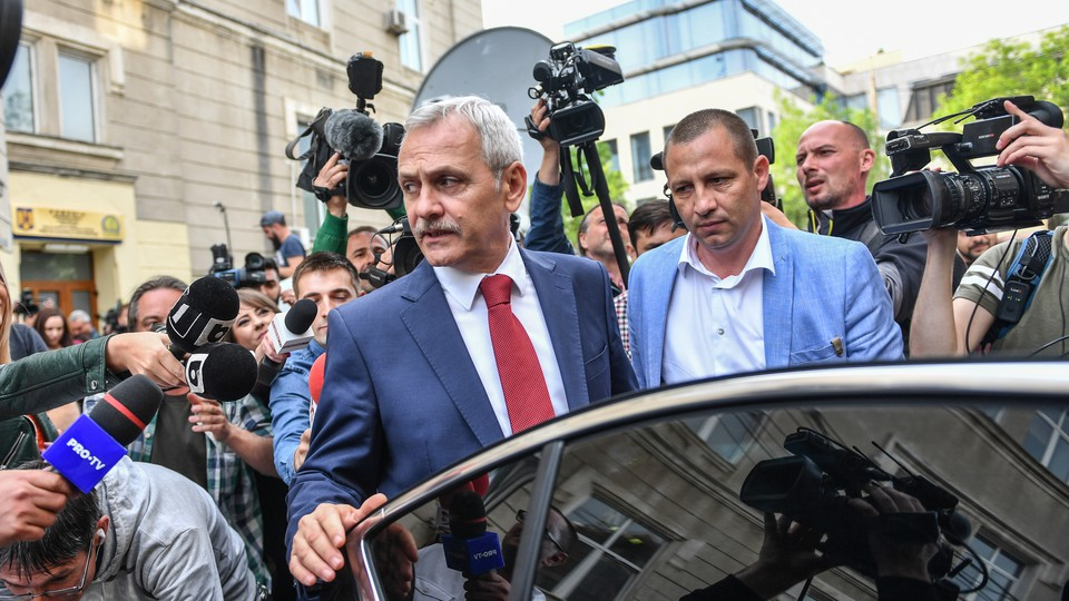 Liviu Dragnea leaves the headquarters of the National Anticorruption Department after he attended a hearing in Bucharest on April 27, 2018