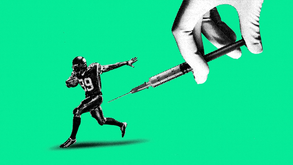 Illustration of a football player and a vaccine needle.
