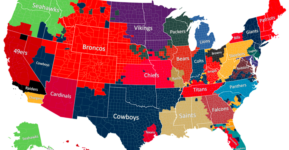 Nfl Map Of Us The Geography of NFL Fandom   The Atlantic