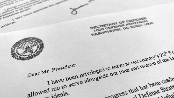 Defense Secretary Jim Mattis' resignation letter to President Donald Trump, submitted this morning