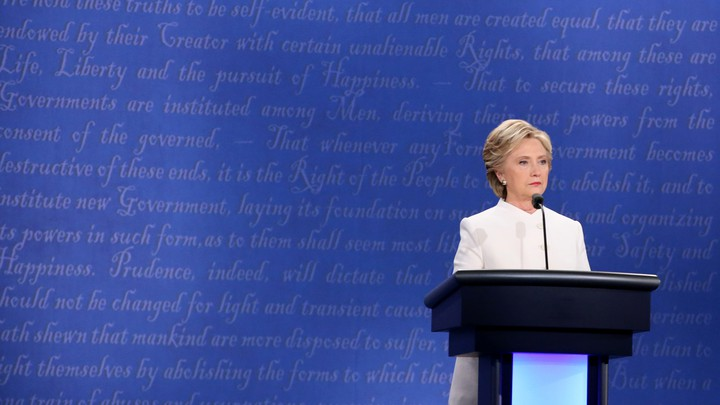 Hillary Clinton stands at the lectern during the third and final 2016 presidential campaign debate.
