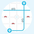 An illustration of cars and bicycles on a street grid
