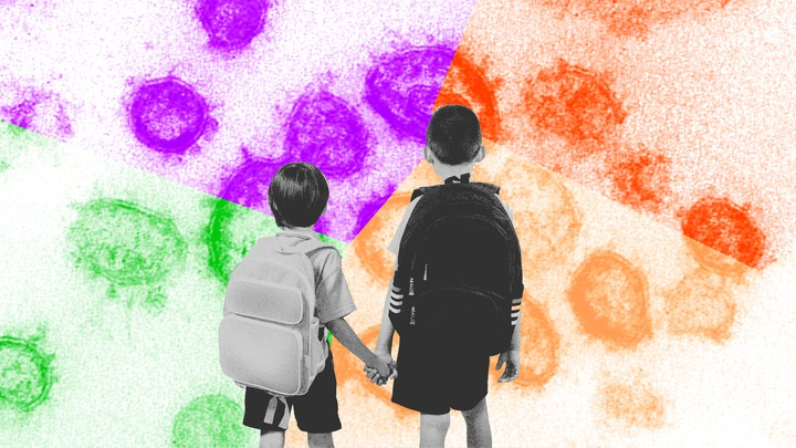 Two children wearing backpacks face a magnified image of virus particles.