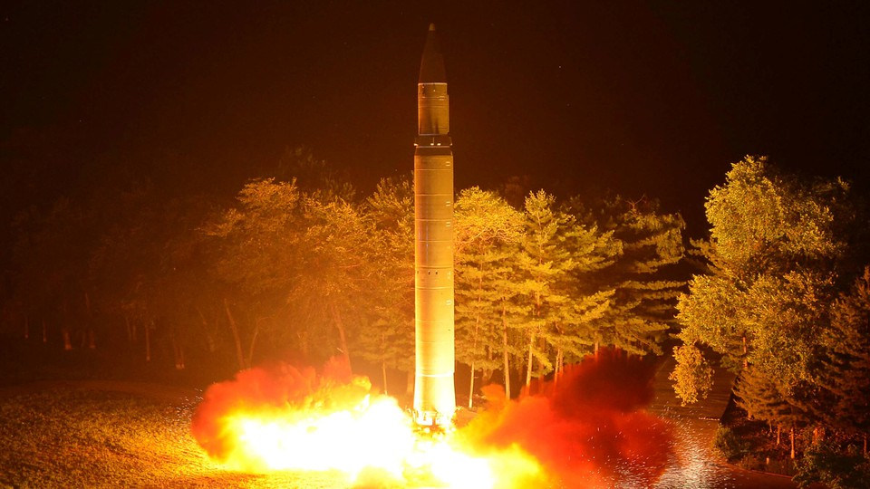 North Korea's second ICBM, the Hwasong-14, is pictured during a test fire on July 29, 2017.