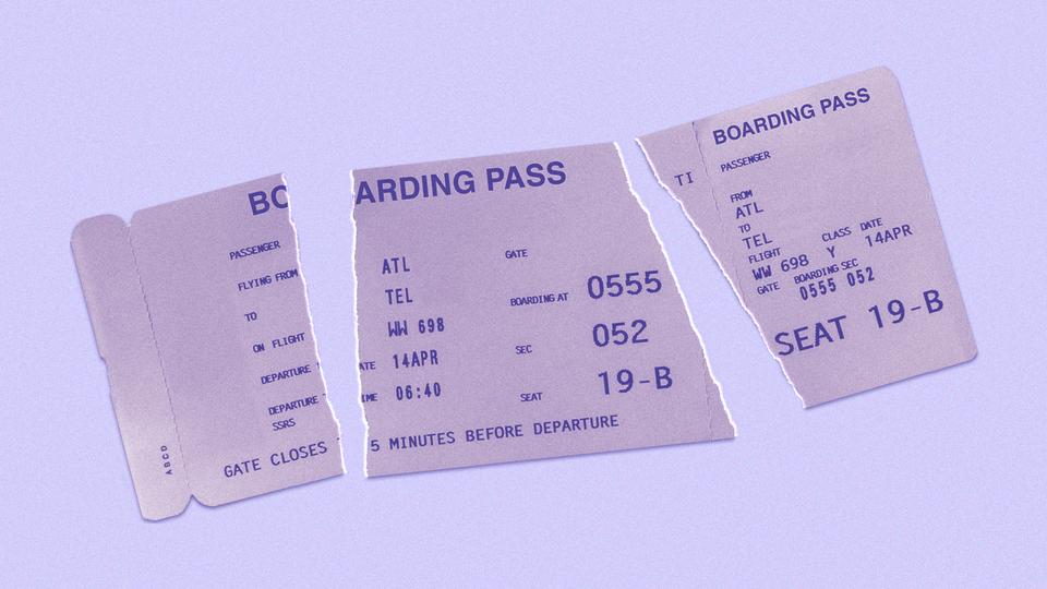 A torn up boarding pass