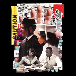 photo illustration collage with caution tape, a protest against school segregation, Black graduates in cap and gown, Black students studying