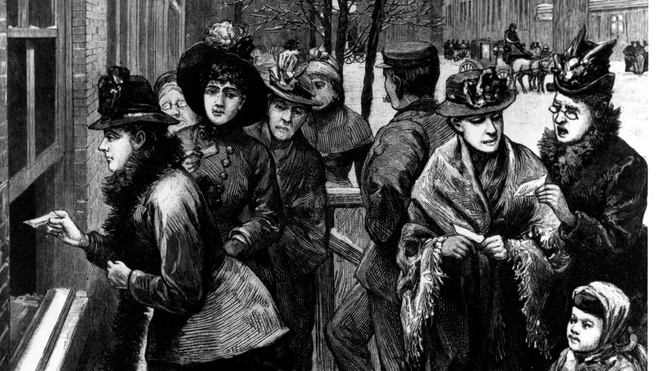 An 1869 engraving of women voting in Wyoming, where women were granted equal voting rights on December 10, 1869