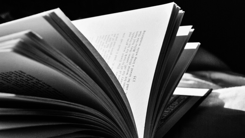 An open book in black-and-white
