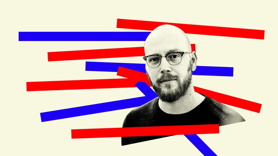 The writer Jonathan Katz with thick red-and-blue lines around him