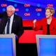 Bernie Sanders and Elizabeth Warren at Tuesday's Democratic debate