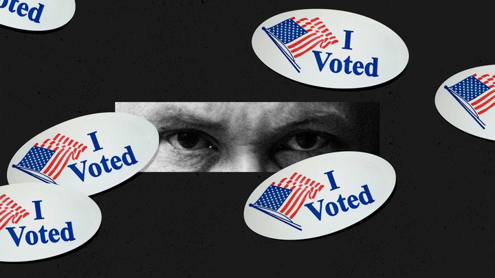 """An illustration of """"I Voted"""" stickers with a pair of eyes watching"""