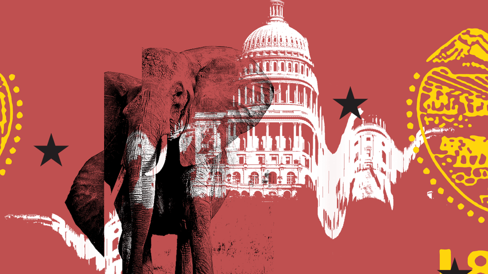 An image in red and yellow of the U.S. Capitol and the Republican 'elephant'