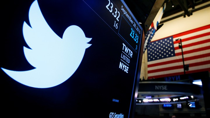 The Twitter logo displayed at the New York Stock Exchange in 2016