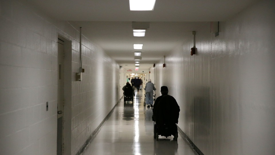 Patients in a hospital hallway