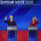 a photo of the 2020 Democratic presidential debate stage.