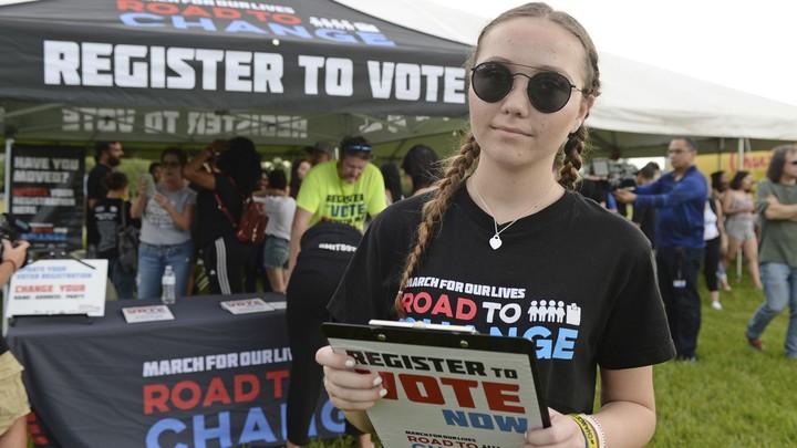 Marjory Stoneman Douglas High School student Lauren Hogg at a voter-registration drive in Parkland, Florida
