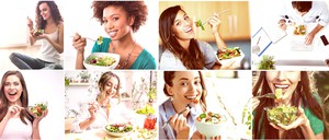a whole bunch of photos of women eating lunch and laughing